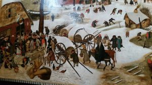 Josief en Maria komen aan in het sneeuwbedekte Bethlehem - Pieter Breugel
